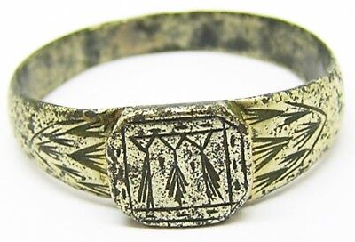 Nice 14th - 15th century Medieval Silver Gilt Ermine Glove Ring Size 12 1/2
