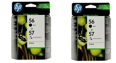 2pk of HP 56 57 Combo Black & Color Combo Ink Cartridges NEW GENUINE