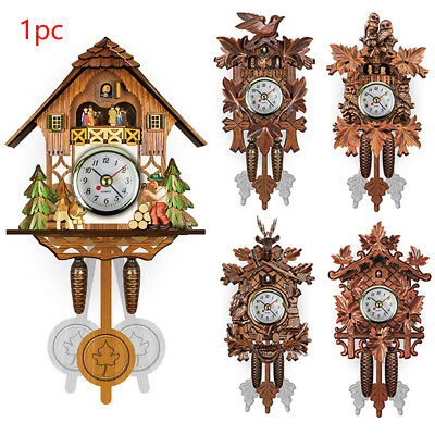 Pendulum Living Room Hanging Cuckoo Decorative Home Bird Wood Wall Clock Vintage