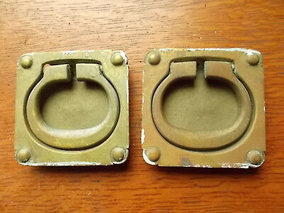 Two Large Antique Vintage Marine Cast Brass Cabinet Flush Ring Pulls