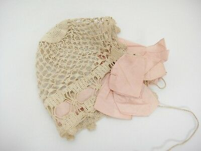 Antique Baby Bonnet Hat Ecru Hand Crocheted Pink Ribbon Bows on Side
