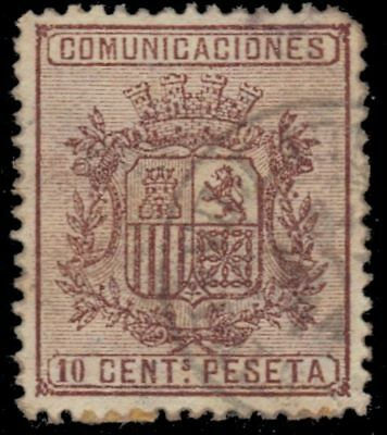 """SPAIN 211a (Mi145A) - National Coat of Arms """"1874 Brown"""" (pa71973)"""