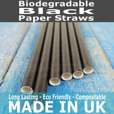 """Plain Black Paper Straws 8"""" - Biodegradable Compostable Eco-Friendly Recyclable"""