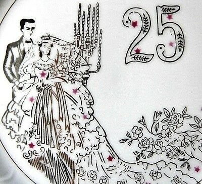 25th Wedding Anniversary Plate Bride & Groom Pink Stars Floral Gown Silver Rim