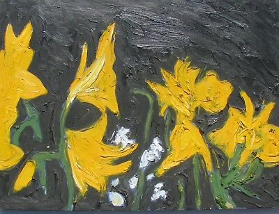 """Andrew Southall Australian Oil Canvas """"Yellow Lillies"""" 1985"""