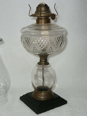 Antique Composite Kerosene Oil Lamp Zig Zag Diamond Glass Font With Iron Base