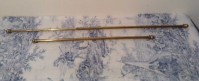 Pair Vintage French Extendable Brass Cafe Curtain Rods (3118)