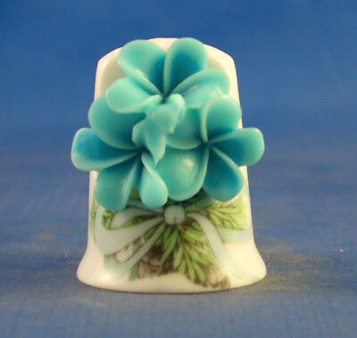 Fine Porcelain China Thimble - Cameo Forget Me Nots