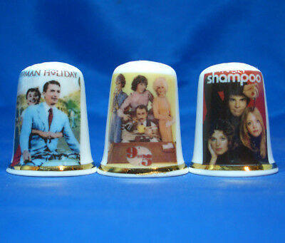 Birchcroft Porcelain China Thimbles - Set Of Three Lady Film Posters