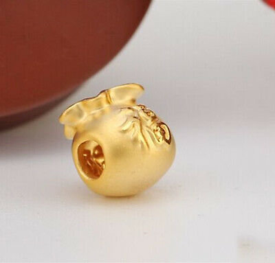 New Authentic 24K Yellow Gold 3D Lucky Bag Pendant 11mm H 1pcs