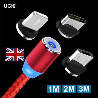 UK Magnetic 1M 2M 3M Charging Cable USB Type C/Micro/iOS Plug 360° LED Braided