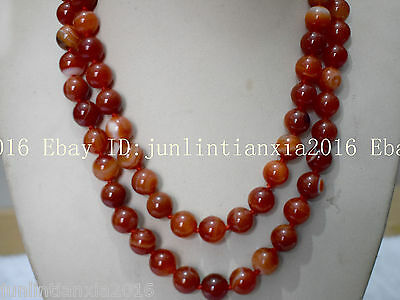 Natural Pretty 10mm Red Striped Agate Onyx Gemstone Bead Necklace 35'' AAA