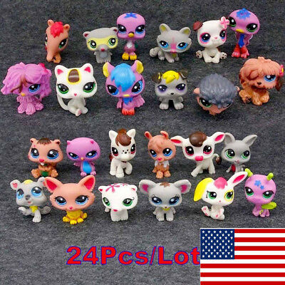 24pcs Littlest Pet Shop Lot Animal Hasbro LPS Figure Xmas Toy dog Lion cat cow