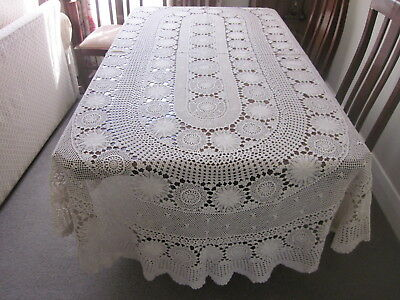 Gorgeous Vintage Ecru Hand Worked Round Crochet Lace Tablecloth