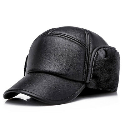 eec8321740e PU Leather Baseball Cap Men Outdoor Warm with Ear Flaps Winter Dad Hat  AET6680MM