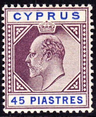 CYPRUS 1904 SG71 45pi PURPLE AND ULTRAMARINE UNMOUNTED MINT