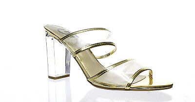 d0f8b1b26bb G BY GUESS Womens Brayla Lucite Clear/Oro Open Toe Heels Size 9.5 (108212)