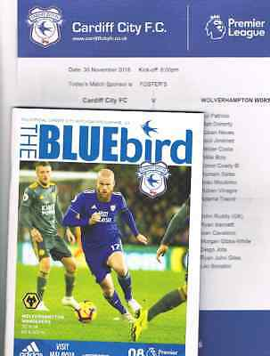Cardiff City v Wolverhampton Wanderers 2018/19 + Official Teamsheet *NOW REDUCED