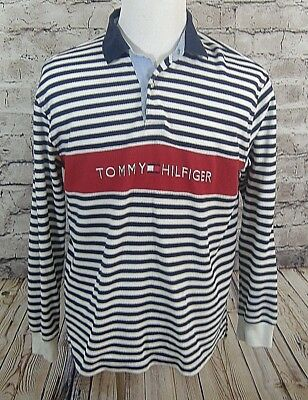 Tommy Hilfiger Mens Shirts Size L l/s Polo Spellout Textured Vintage  (m-36)