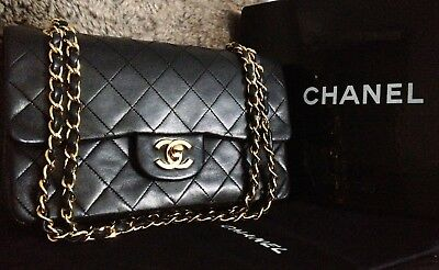 62327dd1d24a 100% CLASSIC CHANEL Black Quilted Lambskin 24K Gold Chain 9