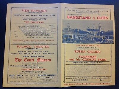 """""""bandstand On The Cliffs"""" Programme Southend-On-Sea 1945 (Westcliff-On-Sea)"""