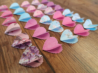 """30 x 1"""" Handmade Paper 3D Hearts Wedding/Crafts/Card/Tags/Scatters Free P&P"""
