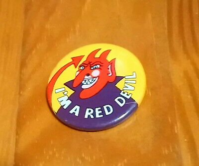 I'm A Red Devil 1973 Lyons Maid Ice Lolly Badge Manchester United Connection Vgc