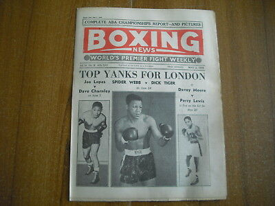 BOXING NEWS - MAY 2nd 1958 - DAVE CHARNLEY, PHIL EDWARDS, DICK TIGER