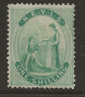 Nevis  Sg 20  1878 Perf 15  1/- Pale Green   Fine Mounted Mint