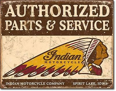 Indian Motorcycles Sales Service Metal Sign Tin New Vintage Style USA  #1930