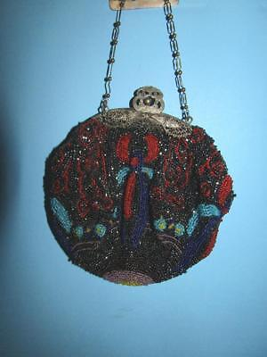 Antique Quality Beaded Purse With Ornate Silver Plated Frame