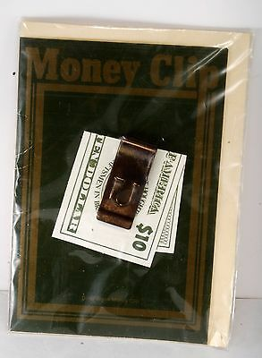 """Vintage Solid Brass Letter """"U"""" Money Clip w Card NOC Made In ENGLAND"""