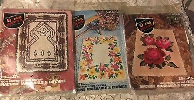 3 Nip Red Heart Rug Patterns By Coats & Clark Roses-Springtime-Berber On Canvas
