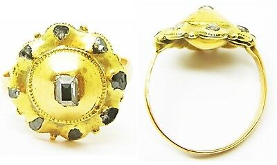Wonderful 17th century Baroque Gold Rosette Ring with Table-Cut Rose Diamonds