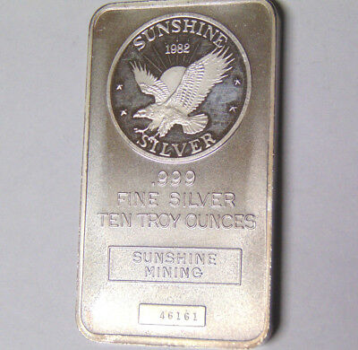 1982 Sunshine Mining Silver Eagle 10 oz .999 Fine Silver Bar Serial Numbered