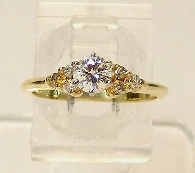 MINT ~ 14kt YELLOW GOLD 1/2 cttw SOLITAIRE DIAMOND ENGAGEMENT RING w ACCENTS