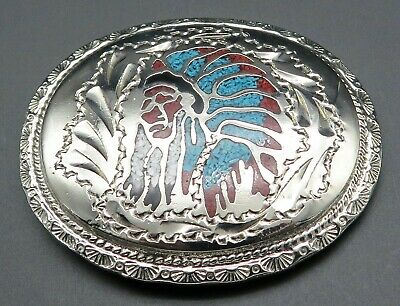 Native American Indian Chief Turquoise Coral Chips Southwest Vintage Belt Buckle