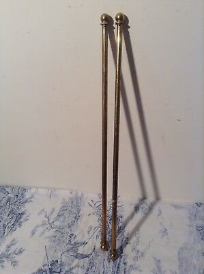 Pair Vintage French Extendable Brass Cafe Curtain Rods (3120)