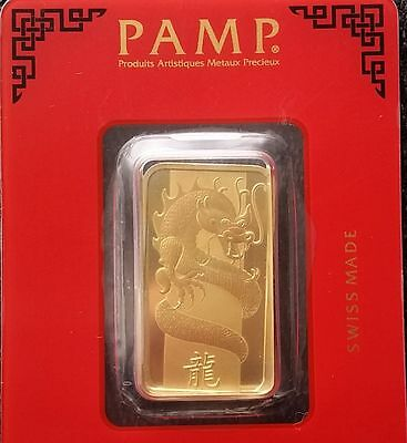 PAMP Suisse 2012 Year of the DRAGON 24k Gold gilded 10g .999 silver bar in assay