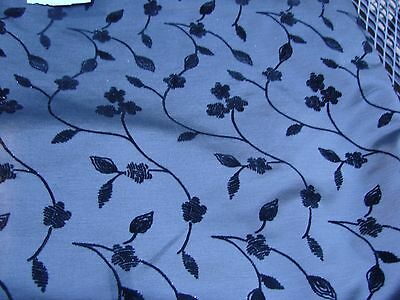 5 Yards Of Vintage Beautiful Silver Brocade Fabric With Velvet Flowers