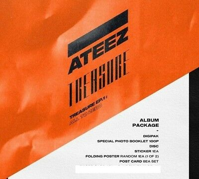 ATEEZ TREASURE EP.1 All To Zero Album CD+Book+Poster+8PostCards+Sticker+Tracking