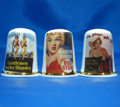 Birchcroft Porcelain China Thimbles - Set Of Three Marilyn Monroe Film Posters