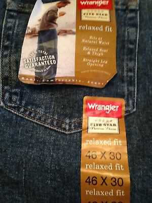 a4668c6ead0 Wrangler Hero Five Star Relaxed Fit Jeans Men's Stone Wash, 46x30, New w/