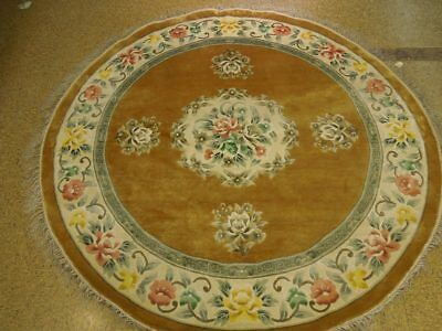 Gold Artificial Silk Rug 7' x 7' Round French Plush Aubusson Handmade Rug