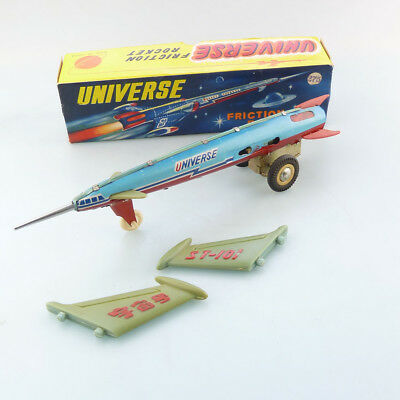 Red China MF 030 Universe Friction Rocket Blech Space Tin Toy TOP in OVP #833