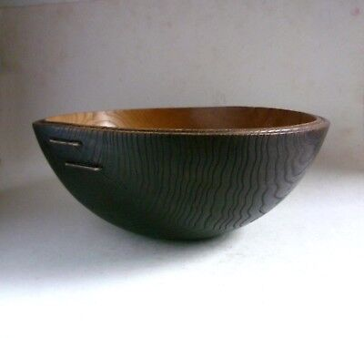 MIKE SCOTT 'Chai' VintageTurned ELM Wood BOWL. Scorched Ebonized Stapled