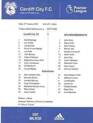 Cardiff City v AFC Bournemouth 2018/19 Official Teamsheet ONLY