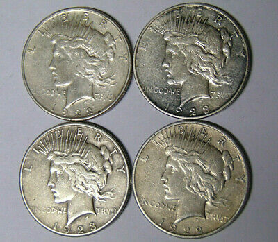 Lot of 4 Peace Silver Dollars 1922-D 1922-S 1923-D 1923-S VF Coins
