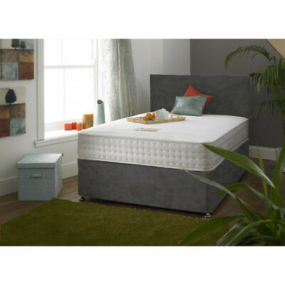 Grey Suede Divan Bed Set + 2000 Pocket Sprung Memory Foam Mattress + Headboard