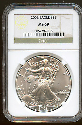 2002 American Silver Eagle $1 NGC MS 69